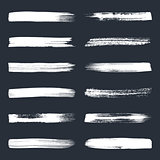 White vector art brush strokes collection