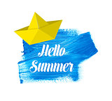 Hello summer lettering on watercolor stain