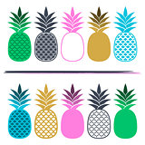 Creative vector card with colorful pineapples