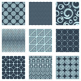 Vector set of nine seamless patterns
