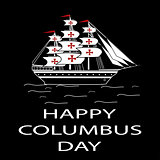 Happy Columbus Day ship white black background.