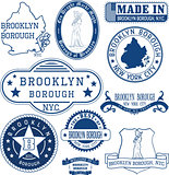 generic stamps and signs of Brooklyn borough, NYC