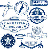 generic stamps and signs of Manhattan borough, NYC