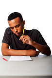 Student concentrating for test exam