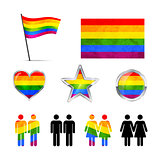 Gay couples icons isolated on white