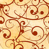 Brown baroque swirls on old paper, royal luxury seamless pattern