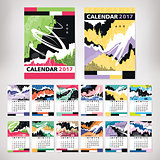 2017 year calendar with contemporary style art