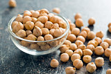 uncooked chickpeas in bowl