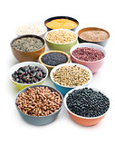 various legumes in bowls