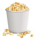 White paper cup full of popcorn