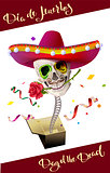 Day of the Dead. Skull Mexican Hat. Dia de Muertos