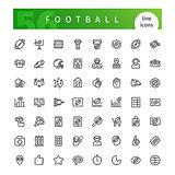 American Football  Line Icons Set