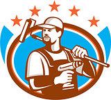 Handyman Cordless Drill Paintroller Oval Stars Retro