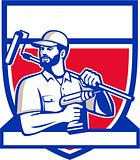 Handyman Cordless Drill Paintroller Shield Retro
