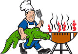Chef Alligator Spatula BBQ Grill Cartoon