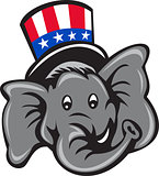 Republican Elephant Mascot Head Top Hat Cartoon
