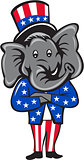 Republican Elephant Mascot Arms Crossed Standing Cartoon