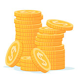 stack of gold coins vector illustration