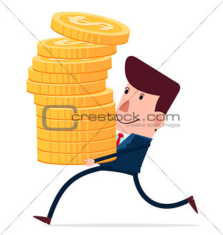 young businessman carry stack of coins