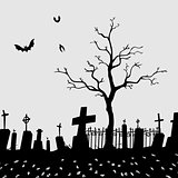 Cemetery Silhouette Vector