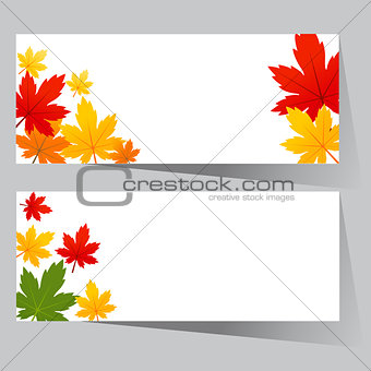 card with maple autumn leaves