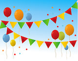 Colored  Happy Birthday Balloons Banner Background Vector Illust