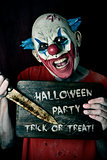 evil clown and text Halloween party trick or treat