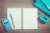 Open notebook with colorful stationery