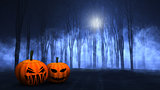 3D foggy spooky forest with Halloween pumpkins