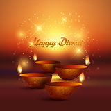 Diwali background with burning oil lamp