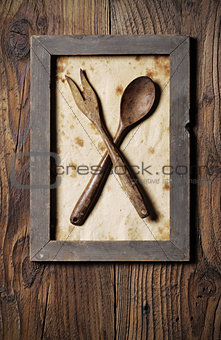 Fork and spoon wooden, framed