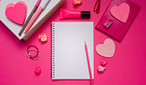 Girly desktop and stationery