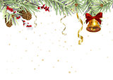Background for Christmas card. Spruce branches and golden bell