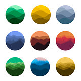 Isolated abstract colorful round shape wild nature silhouettes logo set. Natural environment logotypes collection. Beautiful landscapes icons. Vector illustration.