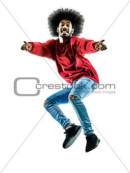 african man jumping pointing silhouette isolated