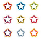 Isolated abstract colorful stars contour logo set on the white background. Rating element logotypes collection. Celebrities symbol. Decorative signs. Vector illustration.