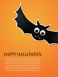 Happy Halloween orange background with flying bat. Design template.