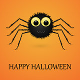 Happy Halloween orange background with spider.