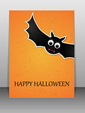 Happy Halloween greeting card with flying bat.