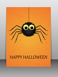 Happy Halloween greeting card with spider.