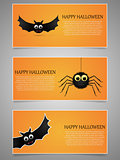 Halloween banner set with flying bat and spider.