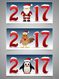 Happy New Year banner set with Santa Claus, penguin and rooster.