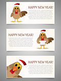 Happy New Year banner set with rooster.