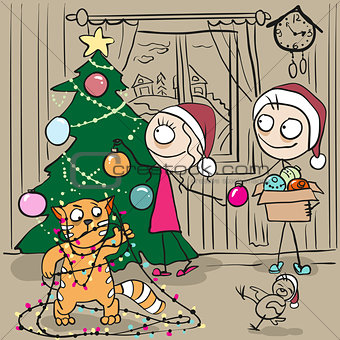 Couple decorates Christmas tree. Red cat tangled in garland
