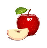 Red apple with leaf and clove. Natural sweet fruit.