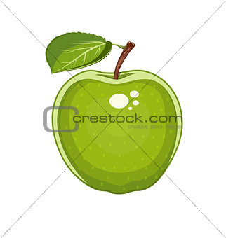 Green apple with leaf. Natural sweet fruit.