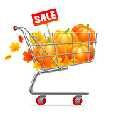 Shopping Cart with Pumpkins