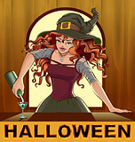 Redhead beautiful pretty witch girl pours cocktails Halloween