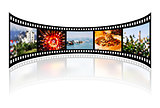 Film strip with reflection on white