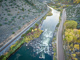 Colorado RIver rapid aerial view